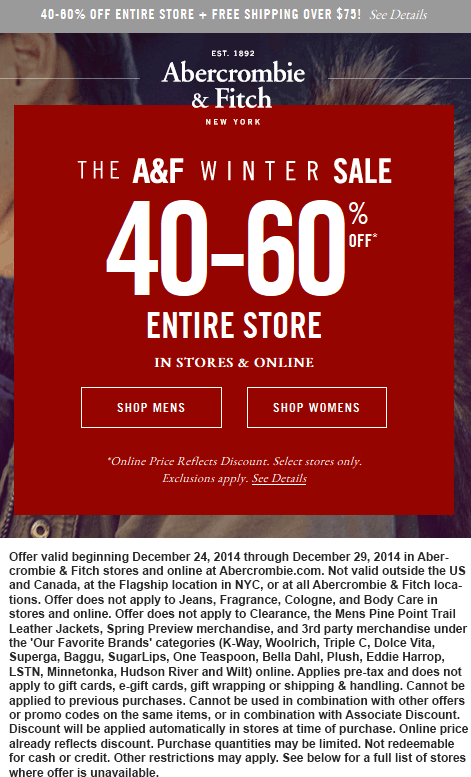 Abercrombie & Fitch Coupon October 2016 40-60% off everything at Abercrombie & Fitch, ditto online