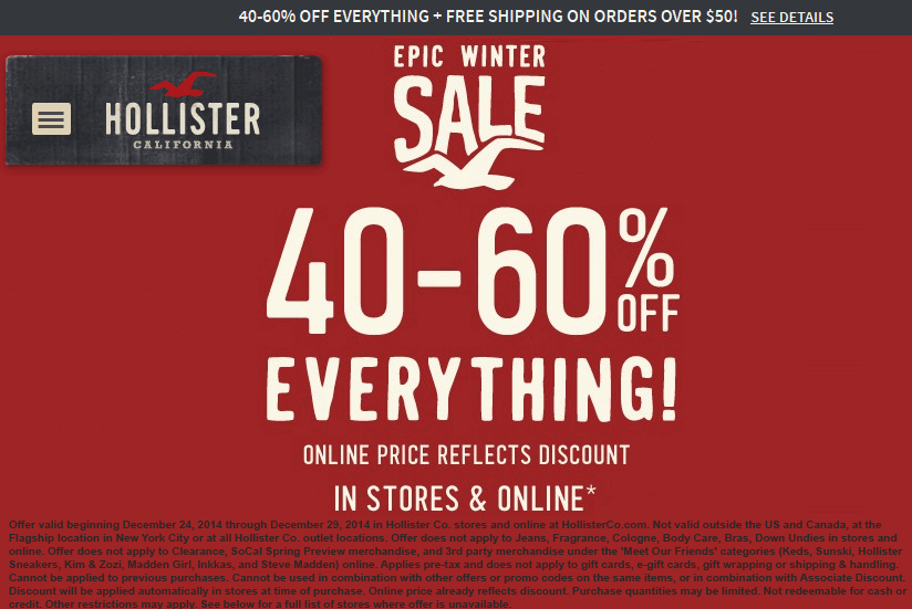 Hollister Coupon June 2017 Everything is 40-60% off at Hollister, ditto online