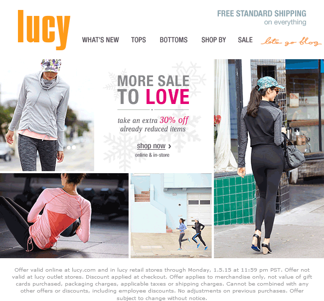 Lucy Coupon August 2019 Extra 30% off sale items at Lucy activewear, ditto online
