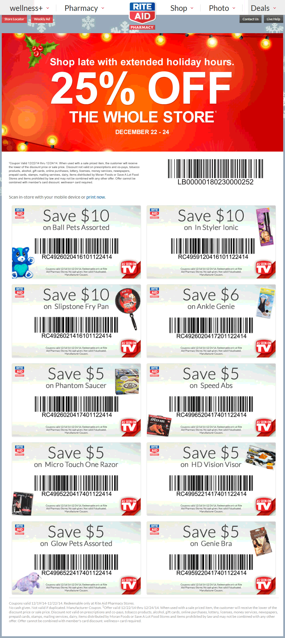 Rite Aid Coupon November 2017 25% off everything today at Rite Aid pharmacy