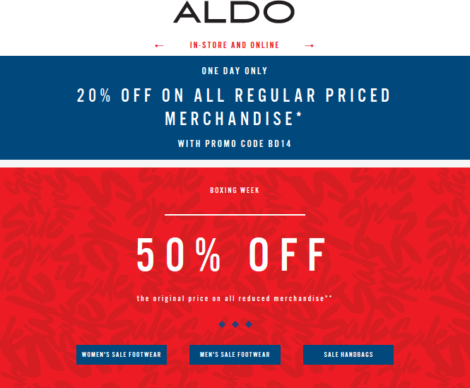 Aldo Coupon February 2017 20% off & more today at Aldo, or online via promo code BD14