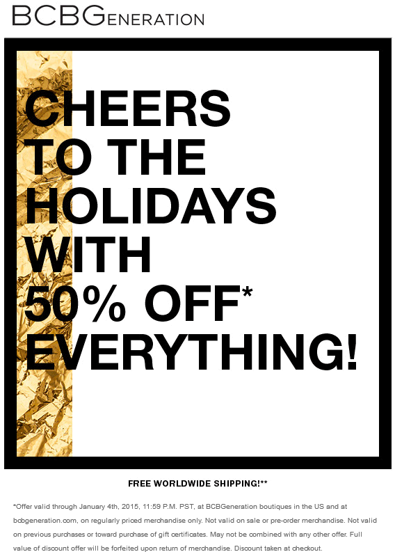 BCBG Coupon May 2018 50% off everything at BCBG, ditto online