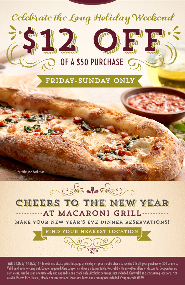 Macaroni Grill Coupon August 2017 $12 off $50 at Macaroni Grill restaurants