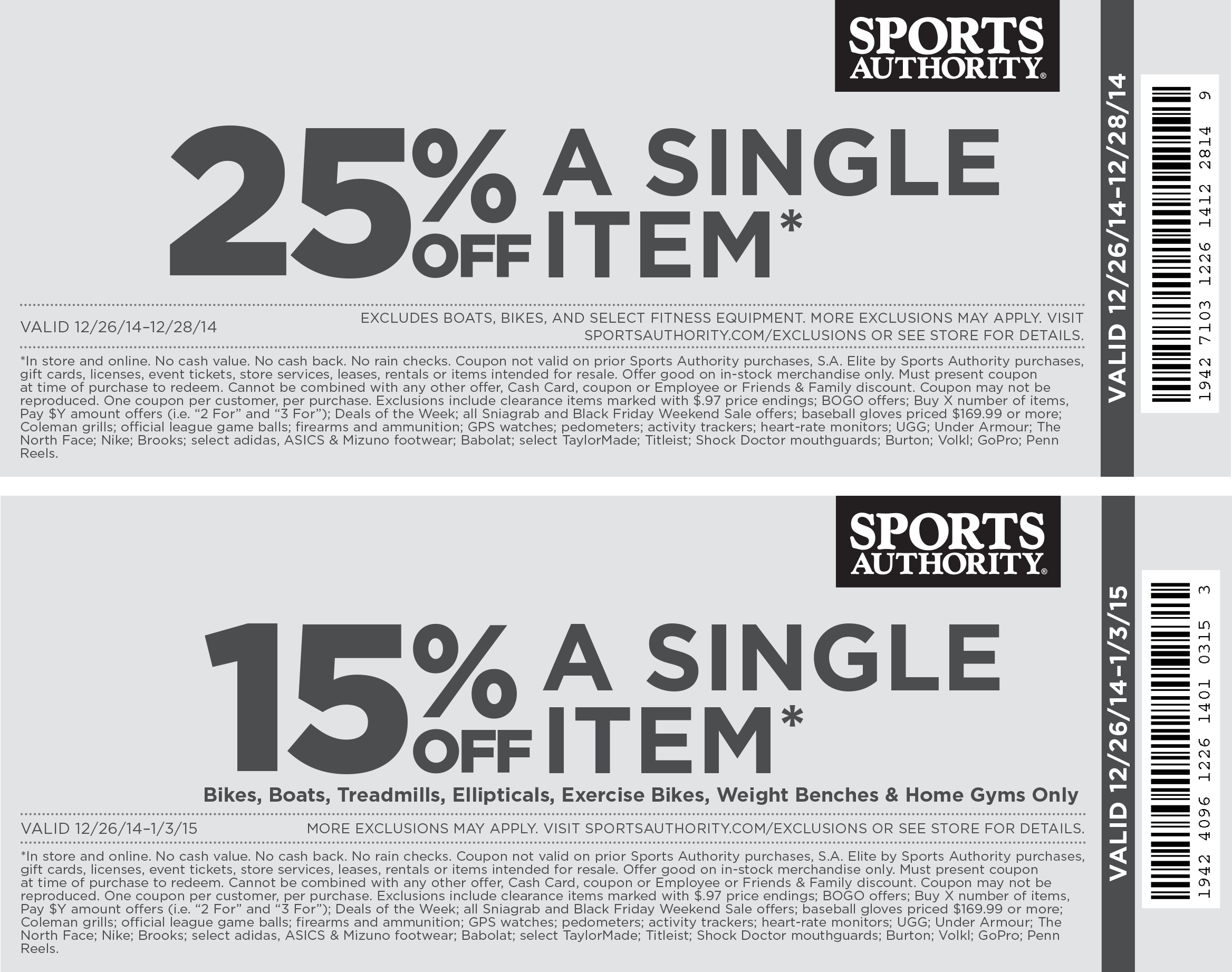 Sports Authority Coupon November 2018 25% off a single item at Sports Authority, ditto online