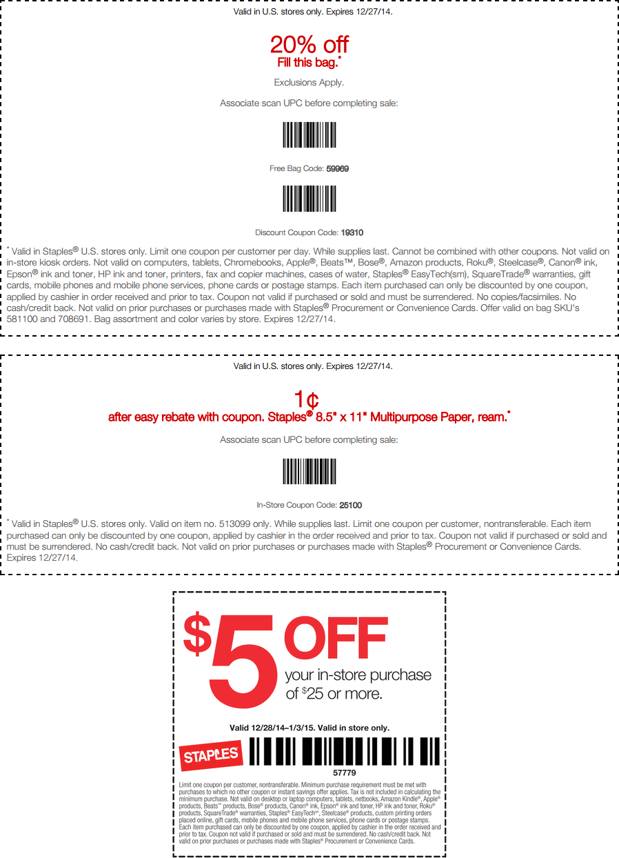 Staples Coupon December 2017 20% off whatever fits in the bag at Staples