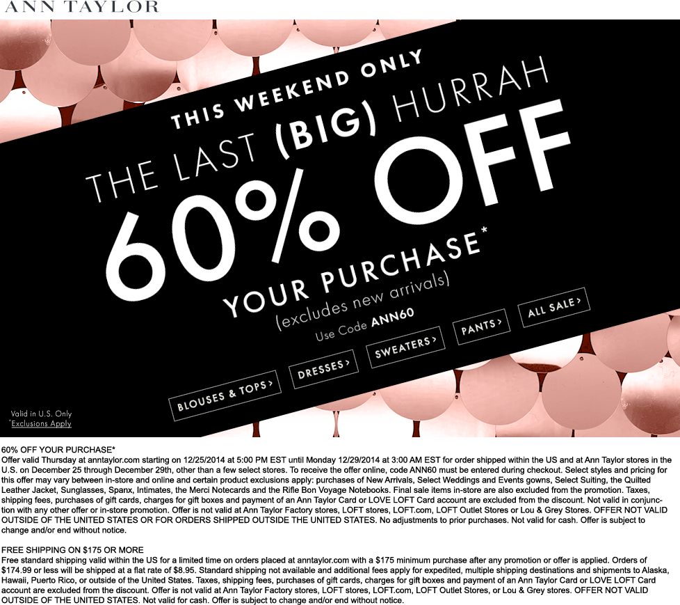 Ann Taylor Coupon January 2020 60% off at Ann Taylor, or online via promo code ANN60