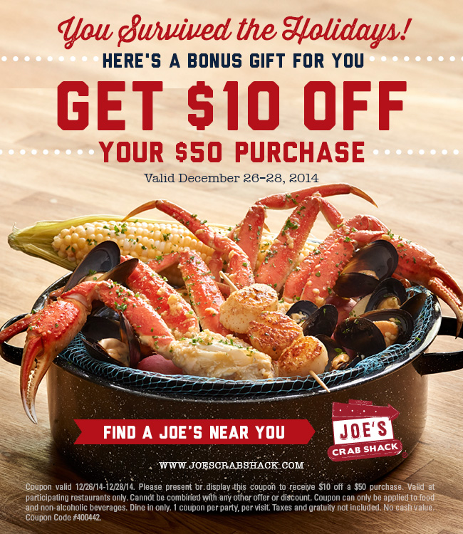 Joes Crab Shack Coupon March 2018 $10 off $50 at Joes Crab Shack