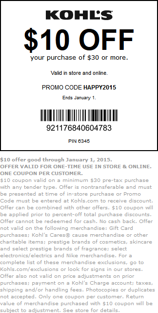 Kohls Coupon August 2017 $10 off $30 at Kohls, or online via promo code HAPPY2015