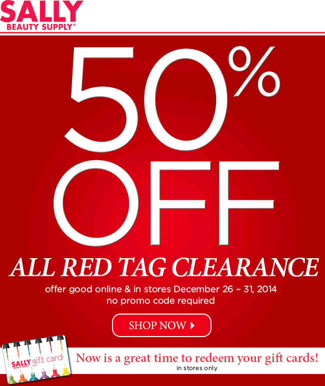 Sally Beauty Coupon December 2016 50% off clearance at Sally Beauty Supply, ditto online