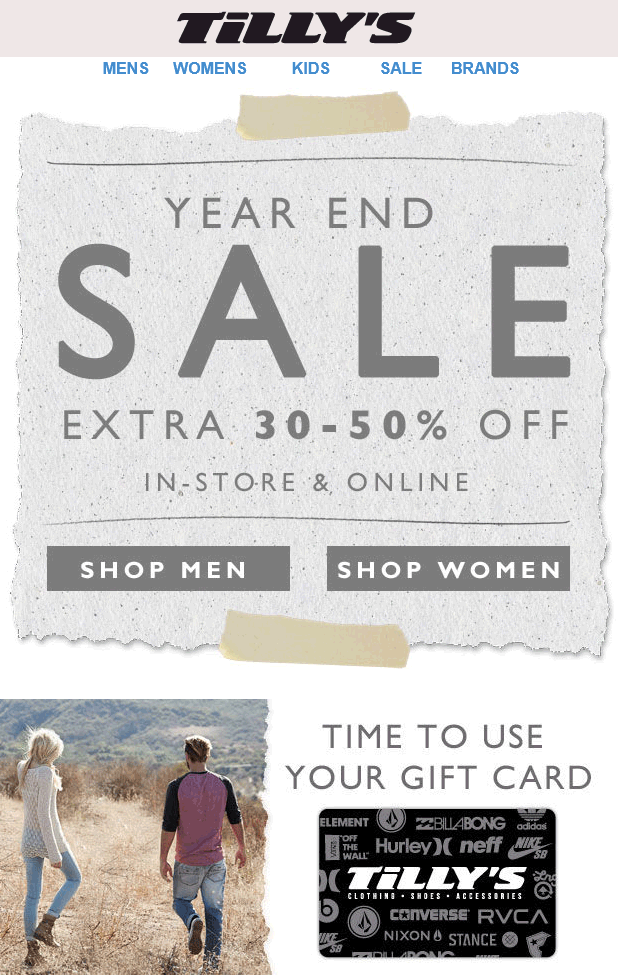 Tillys Coupon January 2017 Extra 30-50% off at Tillys, ditto online