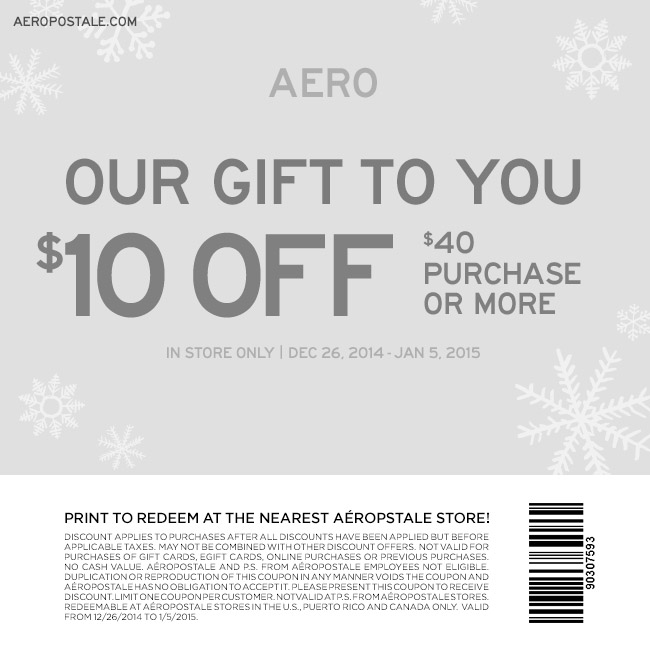 Aeropostale Coupon December 2016 $10 off $40 at Aeropostale