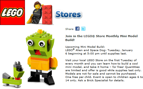 LEGO Coupon September 2017 Free alien & dog mini model build the 6th at LEGO stores