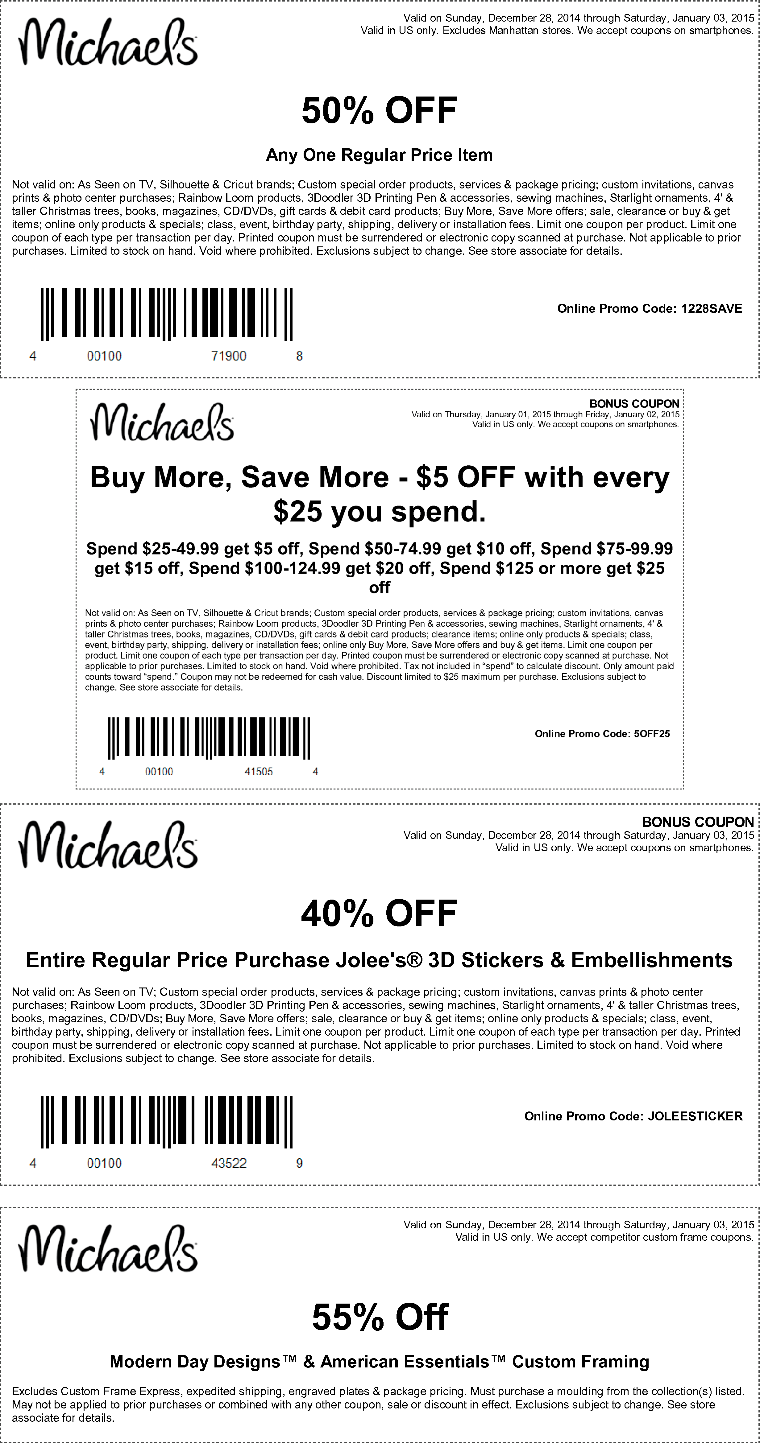 Michaels Coupon May 2017 50% off a single item & more at Michaels, or online via promo code 1228SAVE