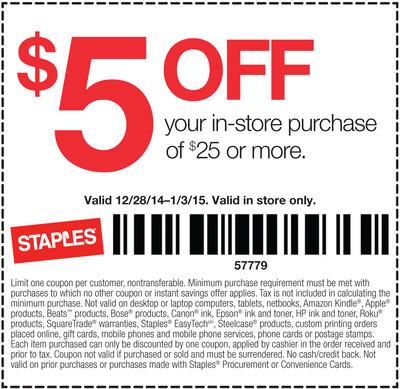 Staples Coupon January 2019 $5 off $25 at Staples