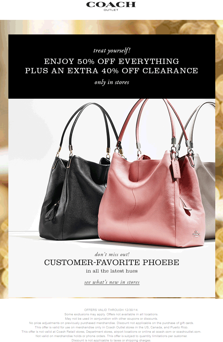 Coach Outlet Coupon December 2016 50% off everything + another 40% off clearance at Coach Outlet