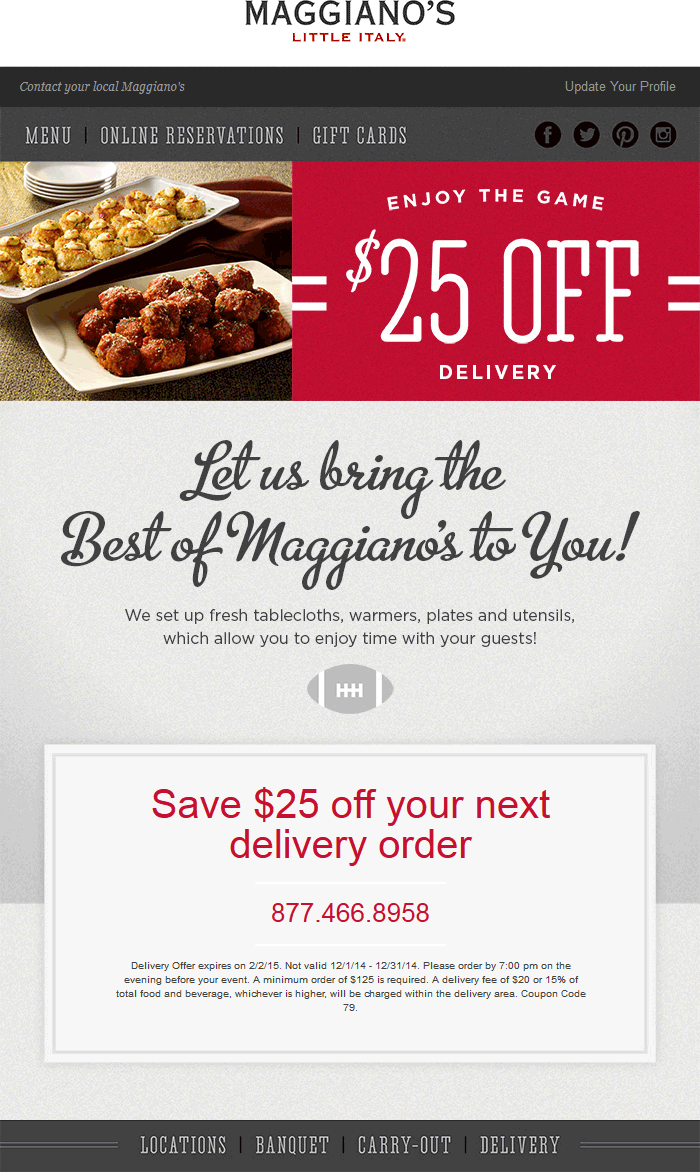 Maggianos Little Italy Coupon November 2017 $25 off $125 on delivery from Maggianos Little Italy restaurants