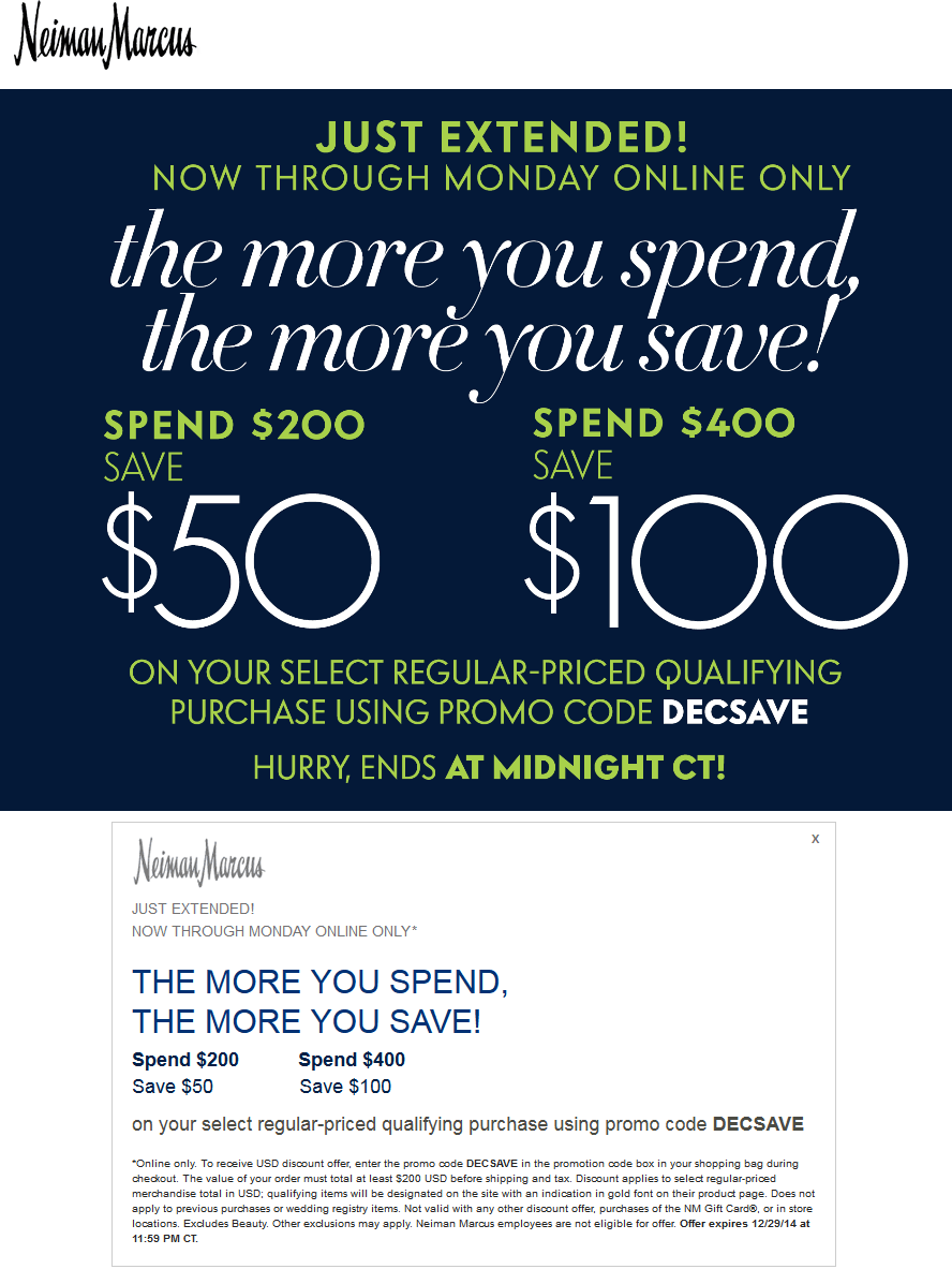Neiman Marcus Coupon October 2016 $50 off $200 & more online today at Neiman Marcus via promo code DECSAVE