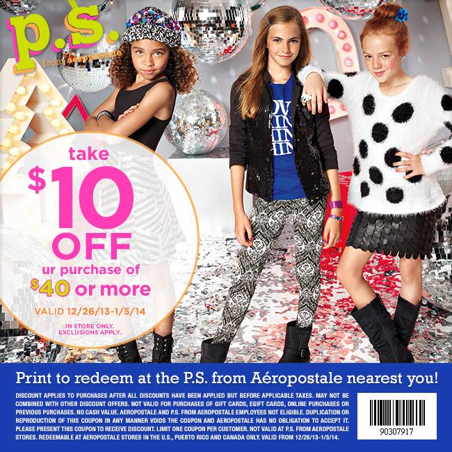 PS from Aeropostale Coupon April 2017 $10 off $40 at P.S. from Aeropostale