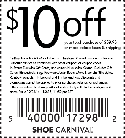 Shoe Carnival Coupon July 2018 $10 off $60 at Shoe Carnival, or online via promo code NEWYEAR