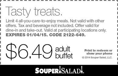 Souper Salad Coupon December 2016 $6.50 buffets at Souper Salad restaurants