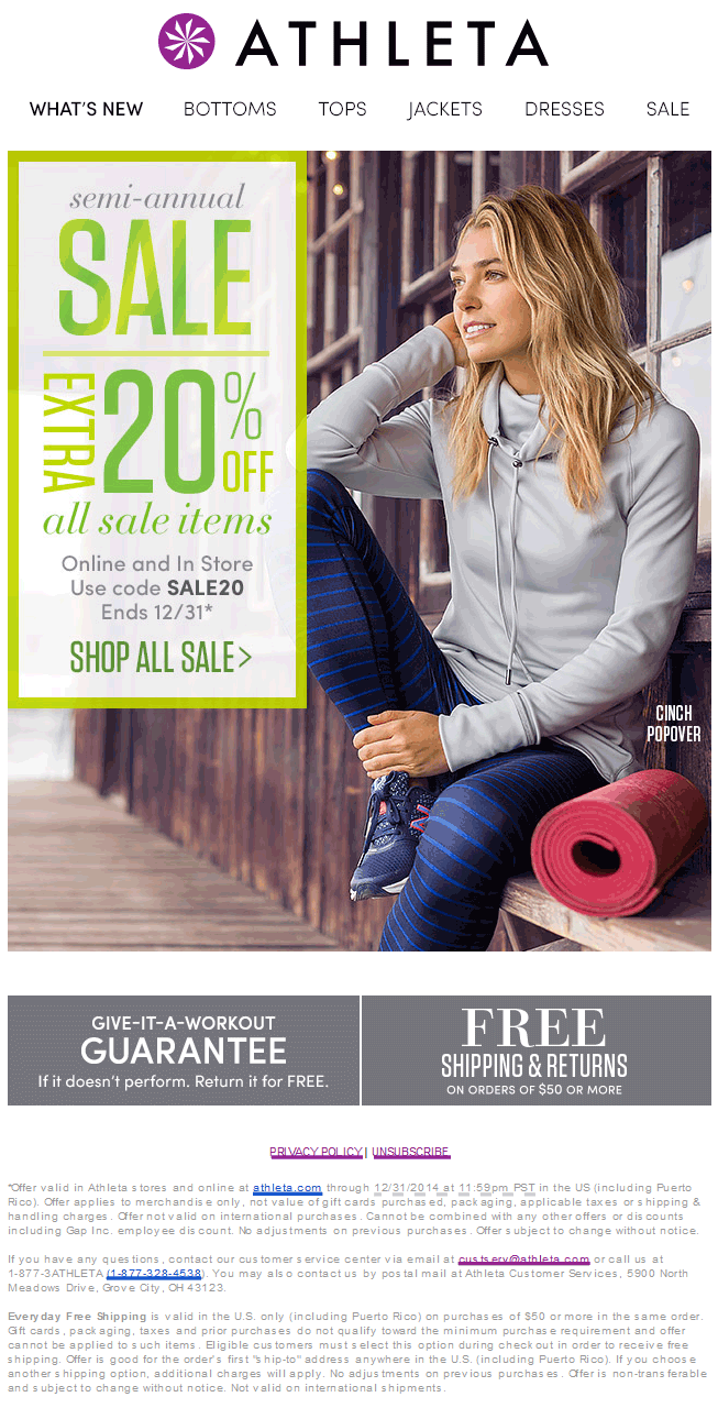 Athleta Coupon April 2017 Extra 20% off sale items at Athleta, or online via promo code SALE20