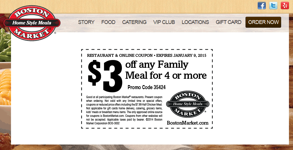 Boston Market Coupon November 2018 Knock $3 bucks off a family meal from Boston Market
