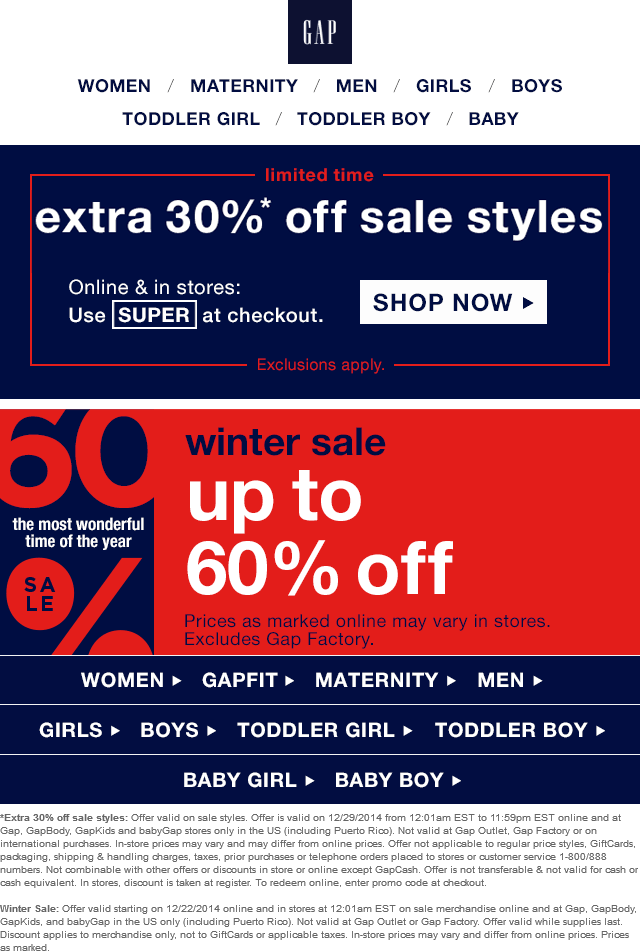 Gap Coupon December 2016 Extra 30% off sale items today at Gap, or online via promo code SUPER