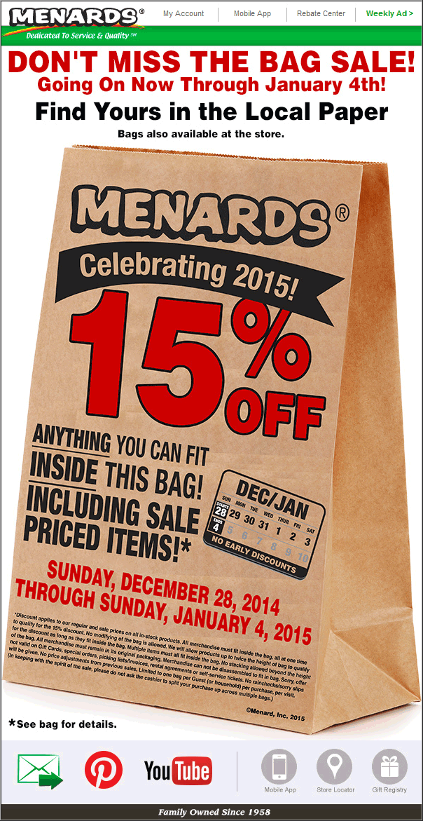 Menards Coupon January 2017 15% off what fits in the bag at Menards