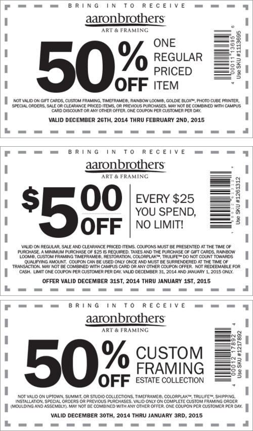Aaron Brothers Coupon January 2018 50% off a single item & more at Aaron Brothers art & framing