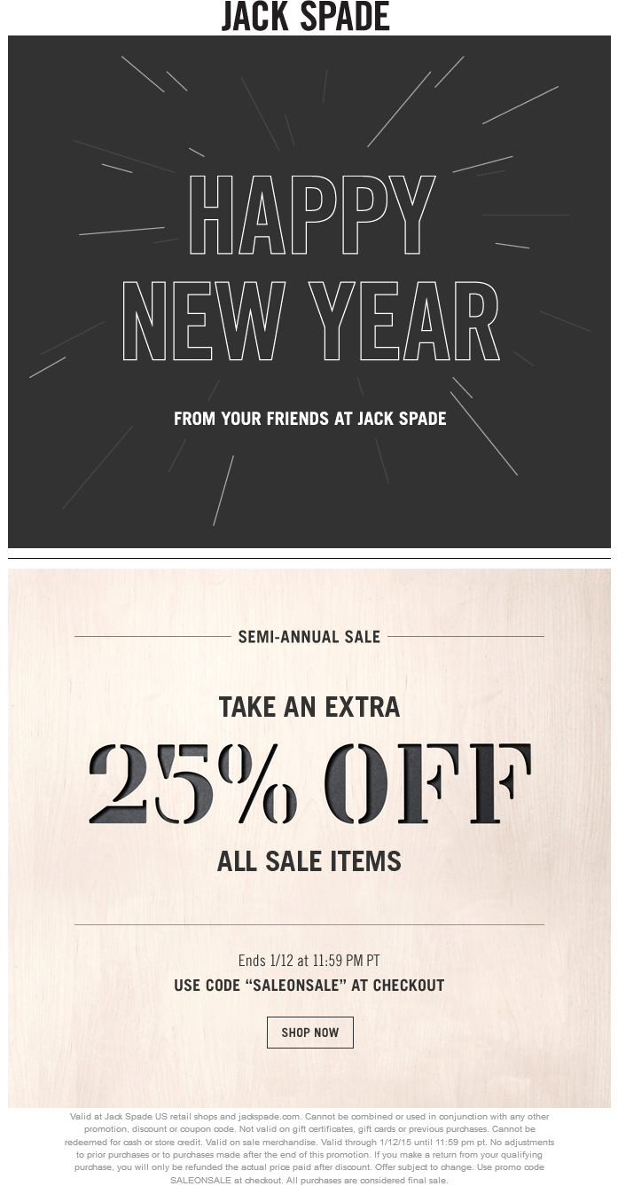 Jack Spade Coupon January 2018 25% off at Jack Spade, or online via promo code SALEONSALE