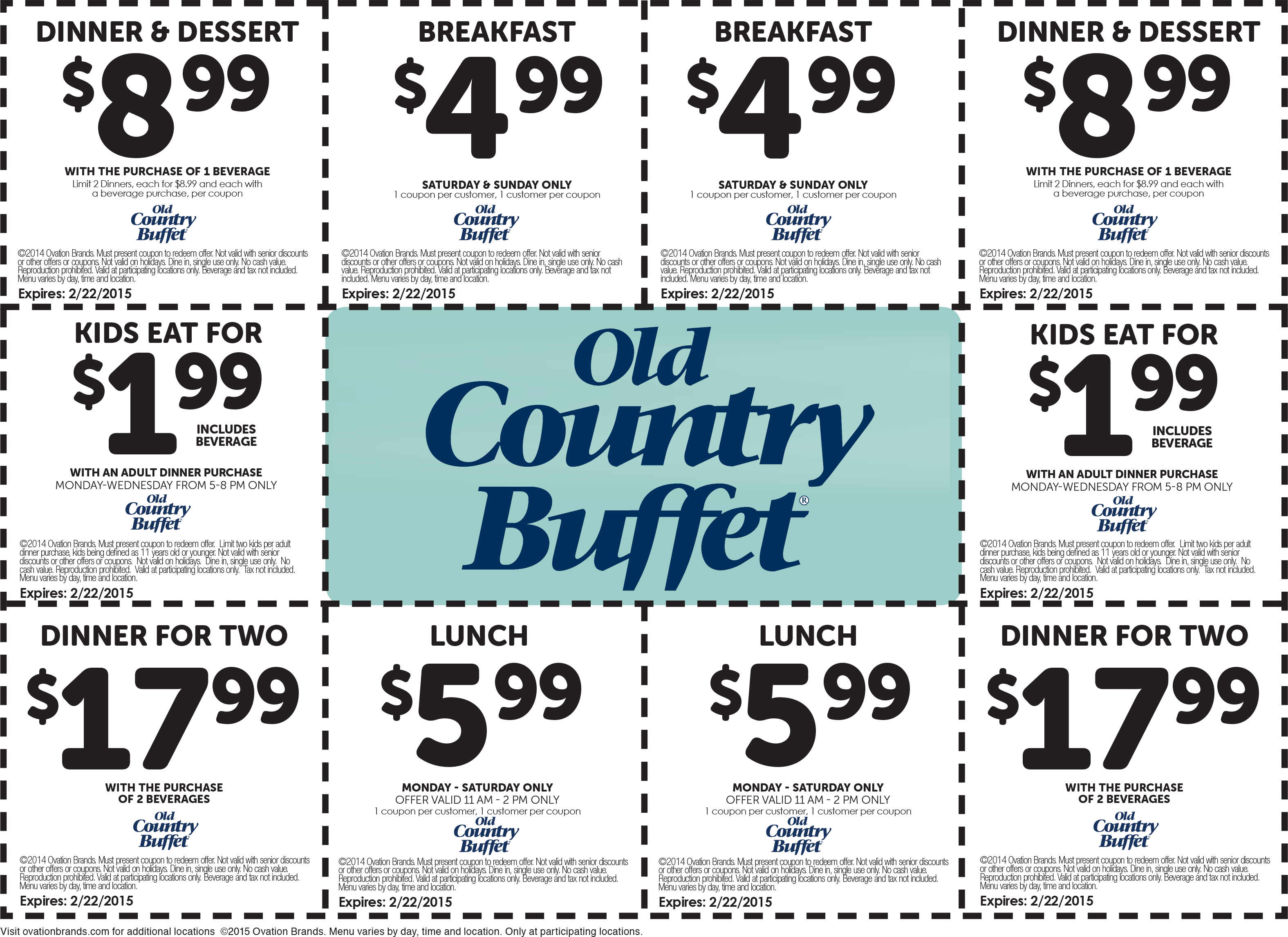 Old Country Buffet Coupon April 2017 $2 kids, $5 breakfast, $6 lunch & more at Old Country Buffet