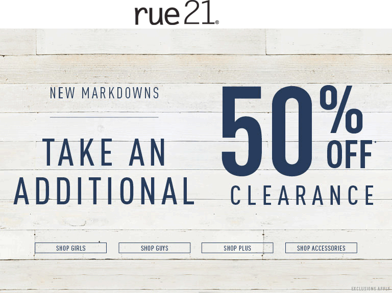 Rue21 Coupon March 2017 Extra 50% off clearance at rue21, ditto online