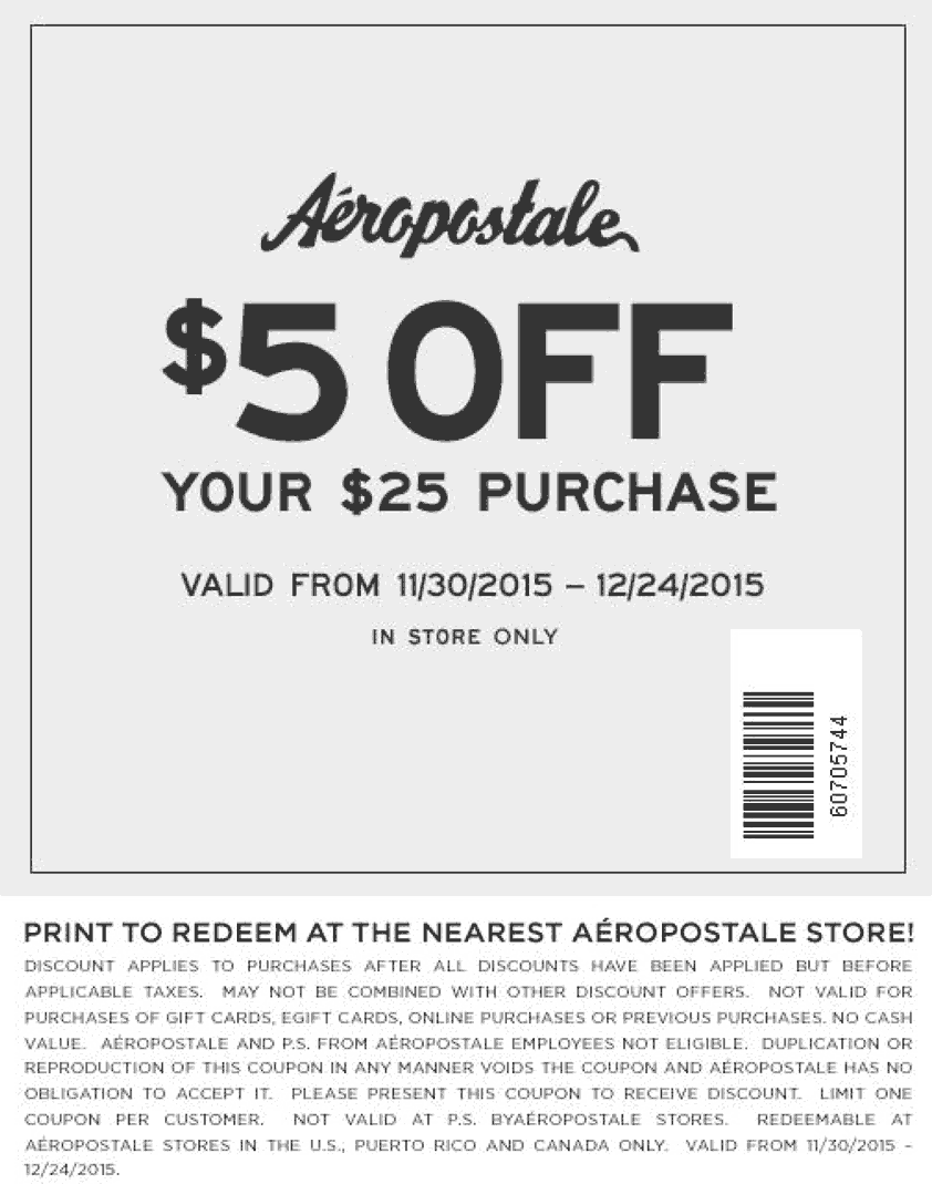 Aeropostale Coupon May 2017 $5 off $25 at Aeropostale