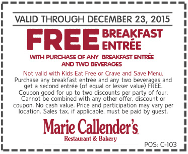 Marie Callenders Coupon March 2017 Second breakfast free at Marie Callenders