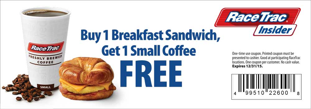 RaceTrac Coupon February 2019 Free coffee with your breakfast sandwich at RaceTrac gas stations