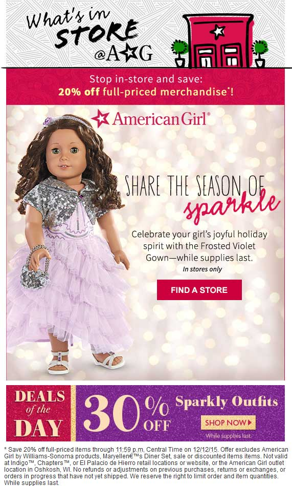 American Girl Coupon May 2017 20% off at American Girl doll stores