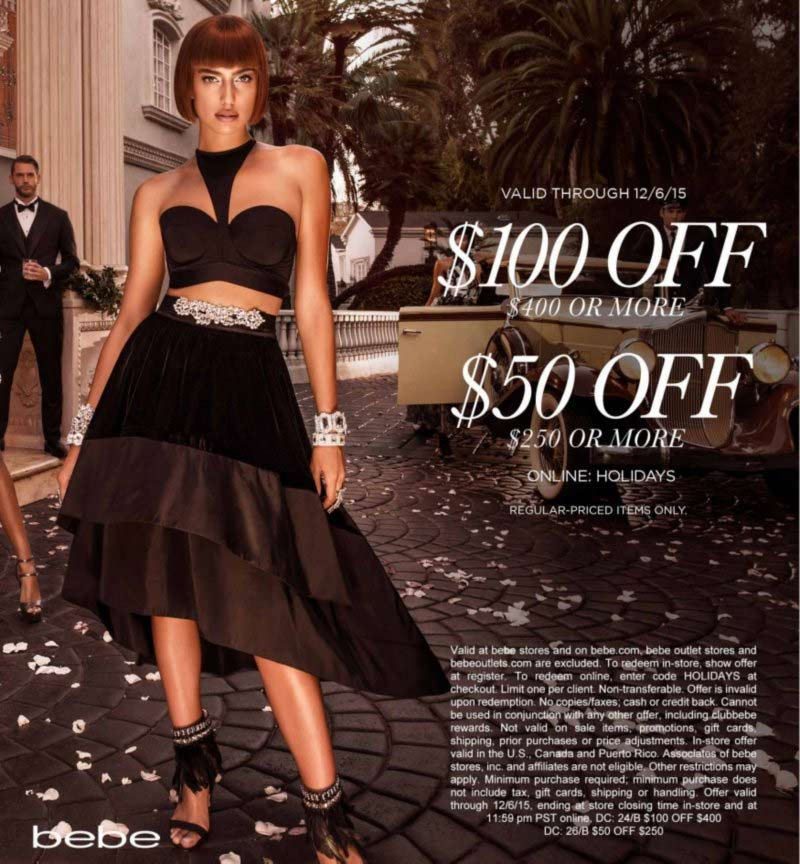 Bebe Coupon April 2017 $50 off $250 & more at bebe, or online via promo code HOLIDAYS