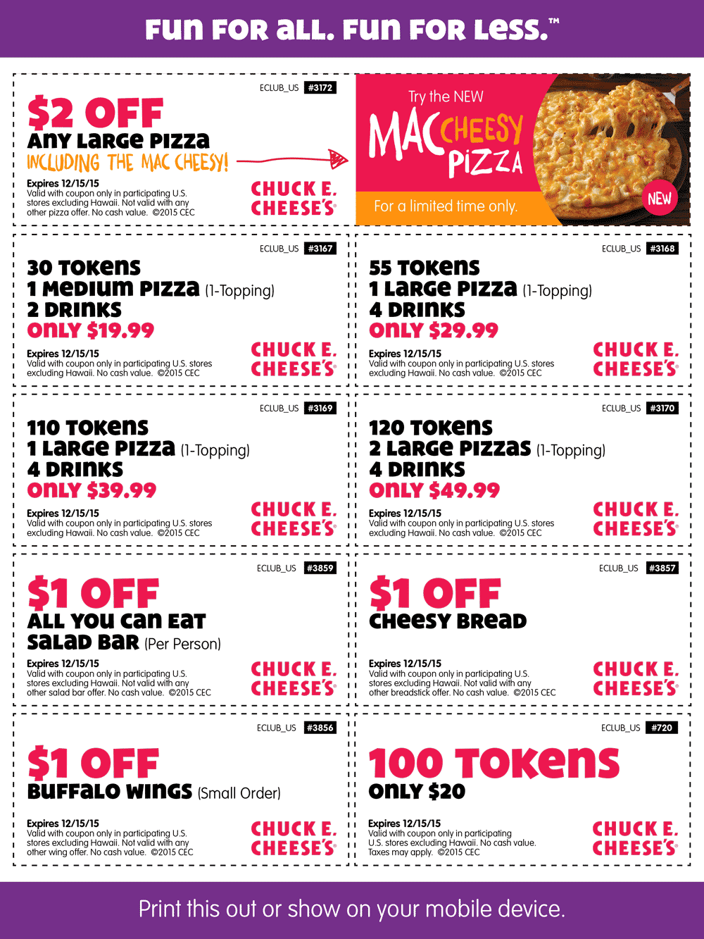 Chuck E. Cheese Coupon December 2016 30 tokens + pizza + drinks or 100 tokens for $20 & more at Chuck E. Cheese