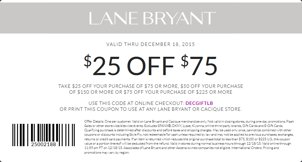 Lane Bryant Coupon January 2017 $25 off $75 at Lane Bryant, or online via promo code DECGIFTLB