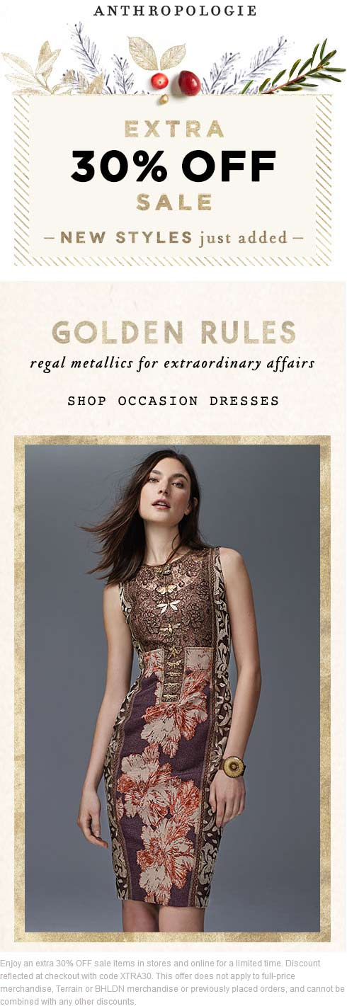 Anthropologie Coupon April 2018 Extra 30% off at Anthropologie, or online via promo code XTRA30