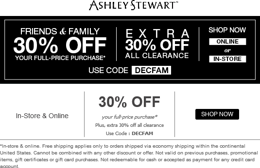 Ashley Stewart Coupon August 2017 Extra 30% off at Ashley Stewart, or online via promo code DECFAM