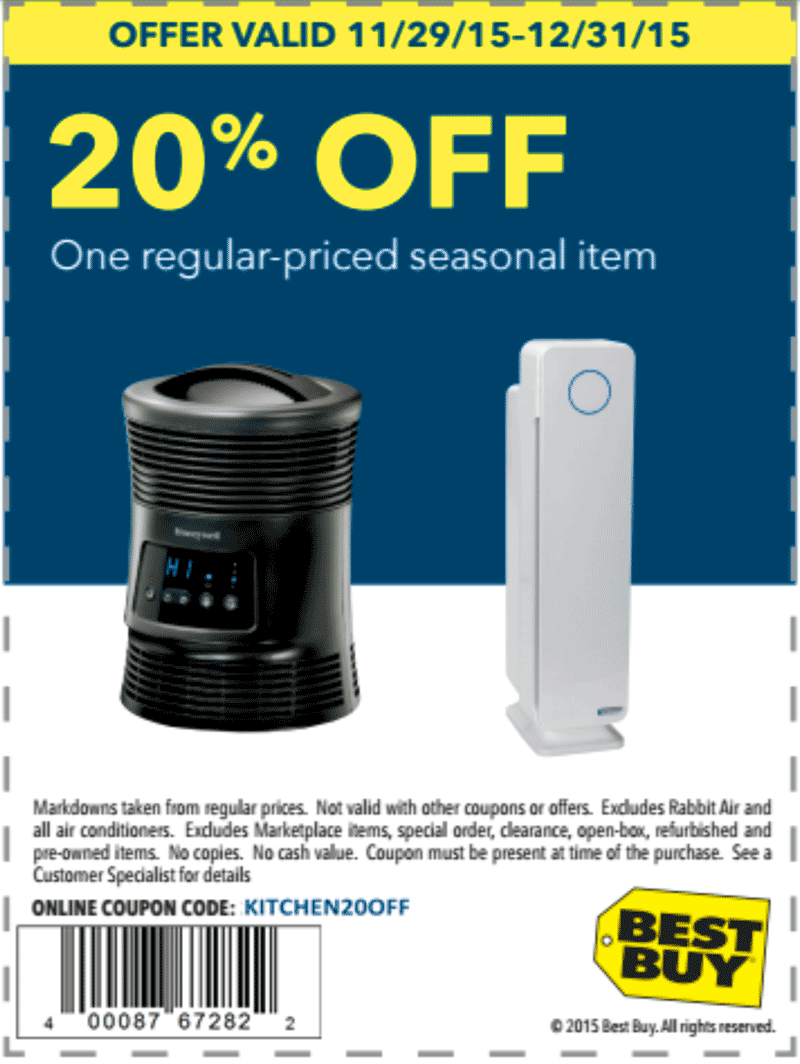 Best Buy Coupon January 2018 20% off a seasonal item at Best Buy, or online via promo code KITCHEN20OFF
