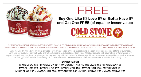 Cold Stone Creamery Coupon October 2017 Second ice cream free at Cold Stone Creamery