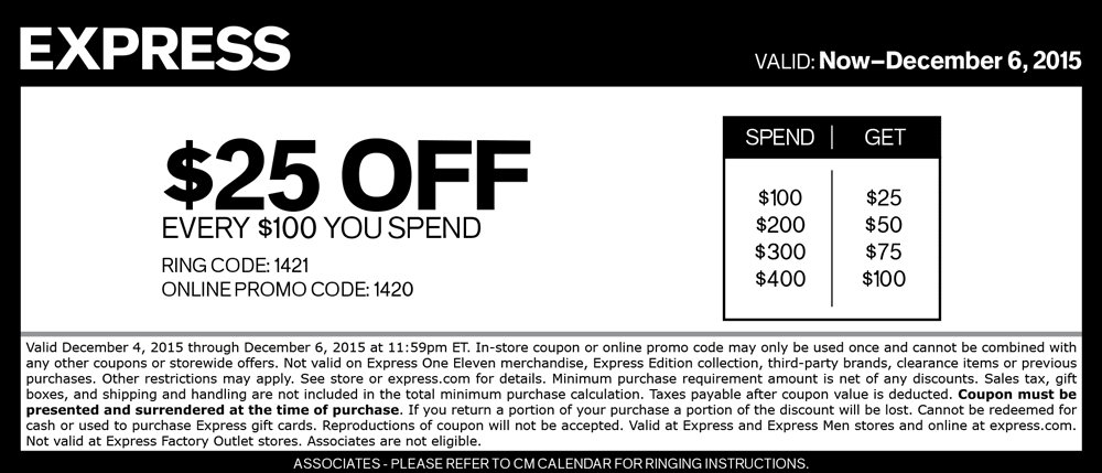 Express Coupon January 2018 $25 off every $100 at Express, or online via promo code 1420