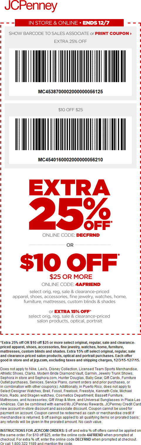 JCPenney Coupon March 2018 Extra 25% off & $10 off $25 at JCPenney, or online via promo code DECFRND