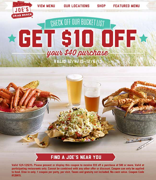 Joes Crab Shack Coupon April 2018 $10 off $40 at Joes Crab Shack restaurants
