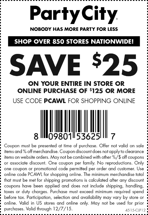 Party City Coupon June 2017 $25 off $125 at Party City, or online via promo code PCAWL