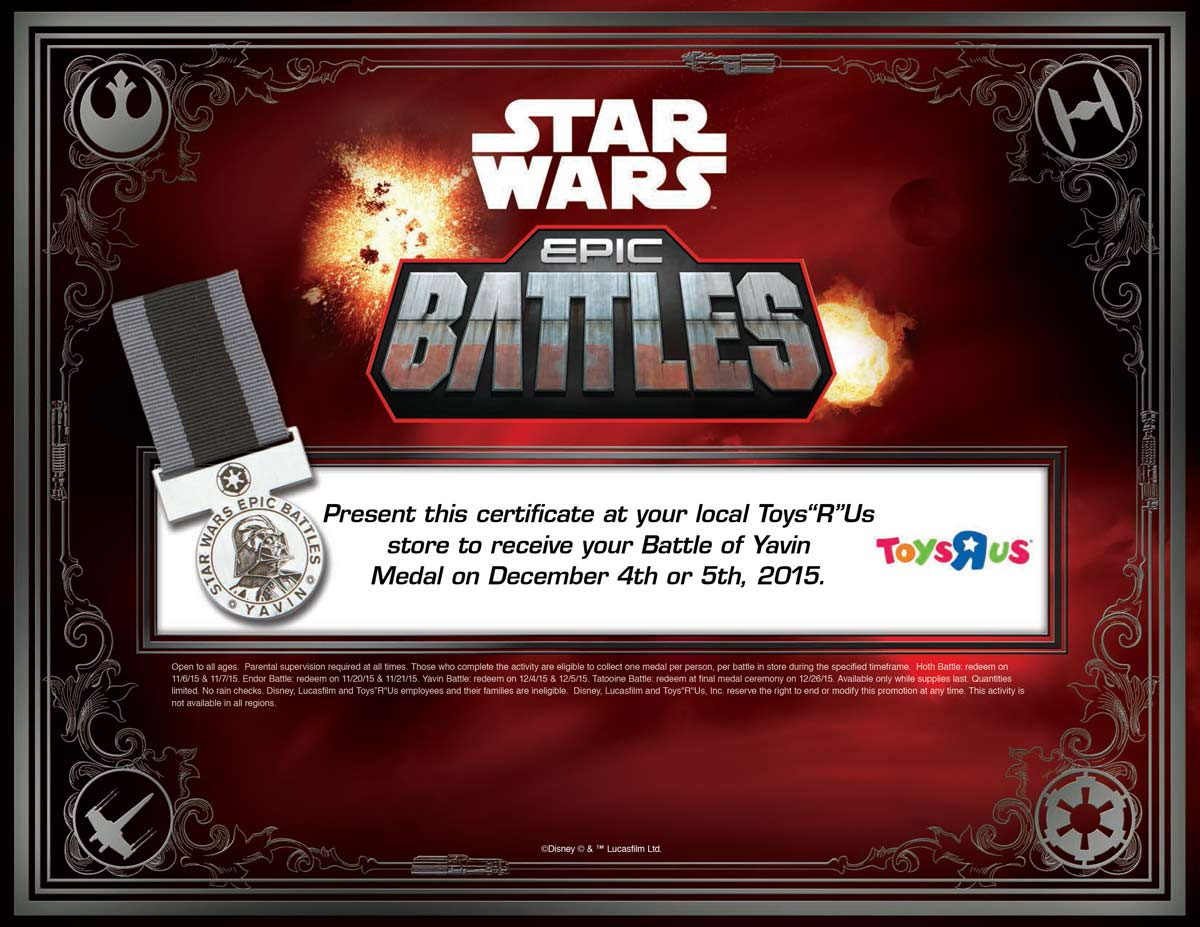 Free Sample: star wars medal in-store at Toys R Us Coupon June 2017 Free Sample: star wars medal in-store at Toys R Us
