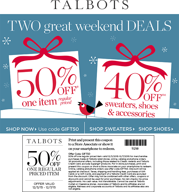 Talbots Coupon January 2017 50% off a single item at Talbots, or online via promo code GIFT50