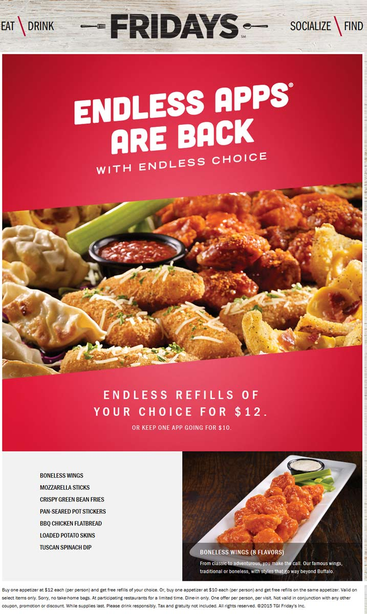 TGI Fridays Coupon March 2017 Bottomless appetizers are back at TGI Fridays